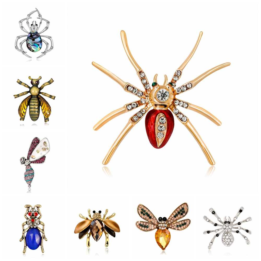 Di alta Qualità di Nuovo Modo Insetto Bruco Spider Cicala Beetle Spille Per Le Donne Smalto Strass Spilla Spilli