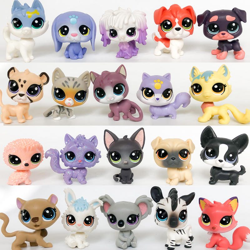 New LPS Pet Shop Collection Figure Collie Dog Cat Bird Squirrel Ribbat Animals Cute Kid Toys Figure Gift Y19112101