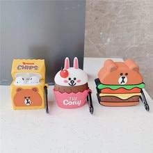 Hamburger Chips Ice Cream Bear Rabbit Case For AirPod Cute Cartoon Earphone Cover Airpods 1 2 Silicone Soft Funda