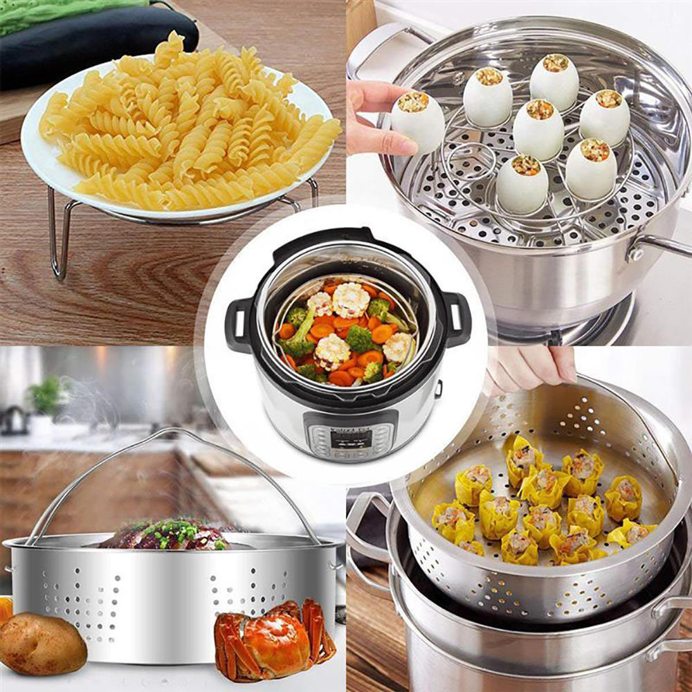 Stainless Steel Steamer Lattice Vegetables Separated Plate Rice Cooker Egg Racks Separated Steamers Rack Steamed Basket