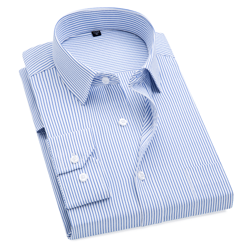 Plus Size S to 8xl formal shirts for men striped long sleeved non-iron slim fit dress shirts(China)
