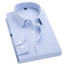 Plus Size S to 8xl formal shirts for men striped long sleeved non-iron slim fit dress shirts Solid Twill Social Man's Clothing