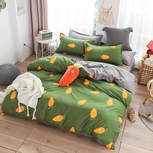 Image 2 - Cute bed linens peach print Home textile bedding luxury fruit duvet cover set sheet bedclothes 3/4pcs girls gift queen king size