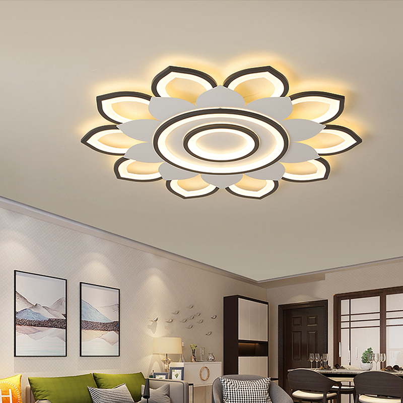 Modern Living Room Chandelier Ceiling Acrylic Flower LED Ceiling Lamps With Remote Controller Bedroom Lustres Luminaire Lampara