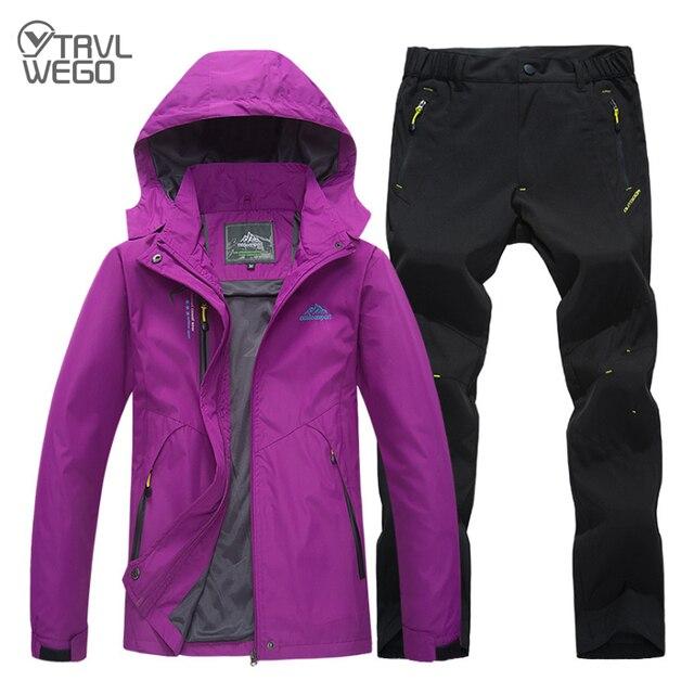 TRVLWEGO femme vestes de Trekking randonnée pêche en plein air manteau & pantalon ensemble sport veste unique et à séchage rapide pantalon costume