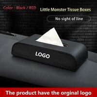 1 adet araba doku kutusu iç aksesuarları doku kutuları siyah PU deri yaratıcı tasarım araba kağıt kutuları Ssangyong LOGO