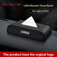 1pcs Car Tissue Box Interior Accessories Tissue Boxes Black PU leather Creative design Car paper boxes FOR Ssangyong LOGO