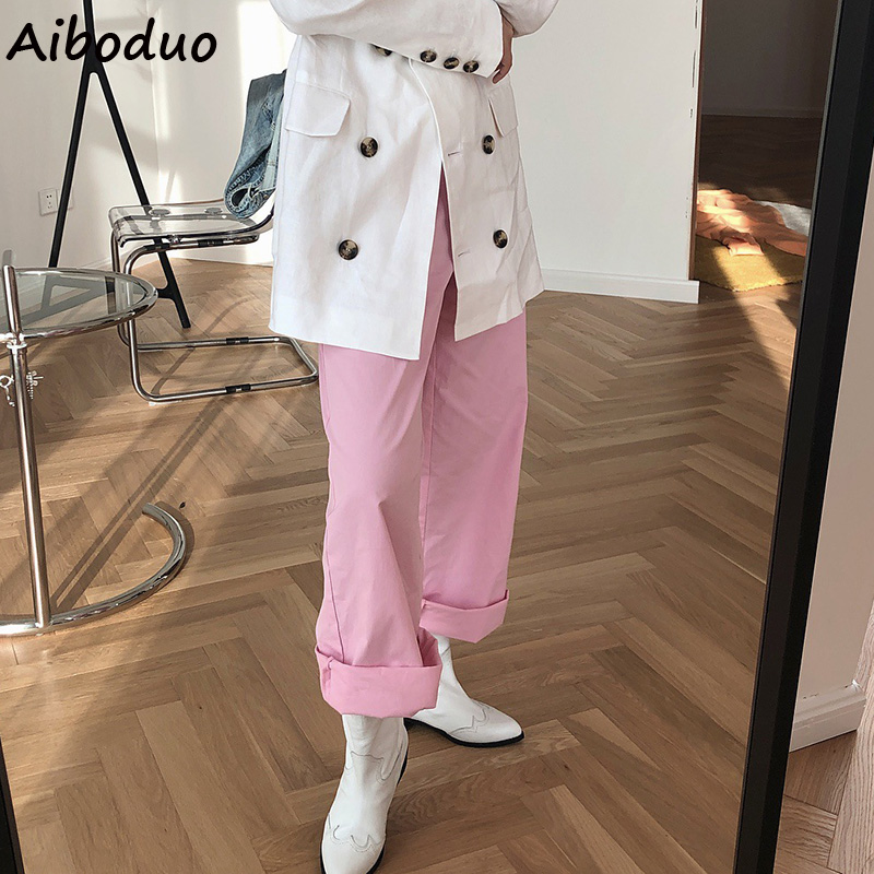Candy Color Pink Orange   Wide     Leg     Pants   Women Casual Summer High Waist Floor Length Long Trousers Female Ladies Autumn Paants