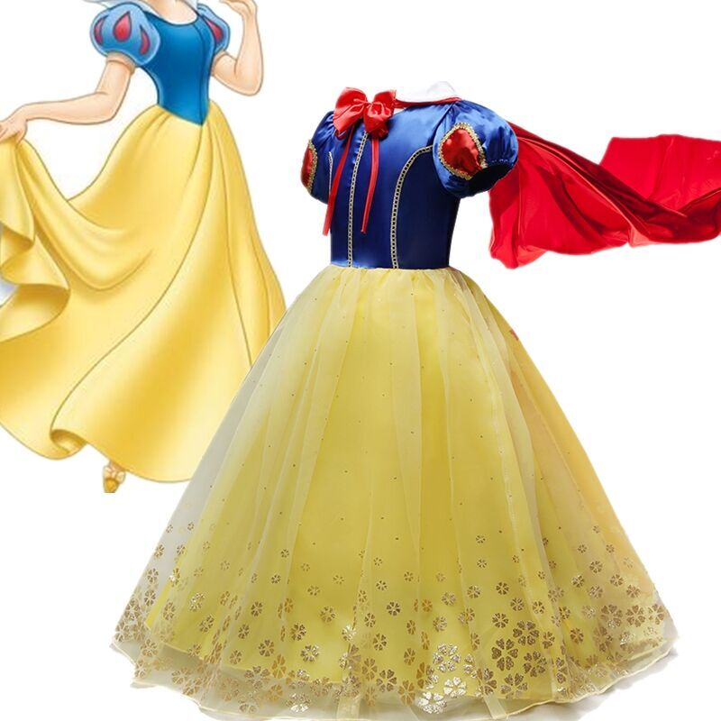 Fancy Snow White Princess Dress Christmas Costume Halloween Cosplay Dress up Baby Girl Clothes Birthday Party Kids tutu Dress 1
