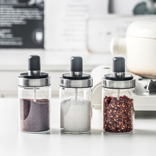 Glass Spice Containers Seasoning Jar With Spoon Oil Honey Salt And Pepper Dispenser Bottle Kitchen Accessories joylive new bottle honey dispenser and container glass crystal honey dispenser transparent honey storage container