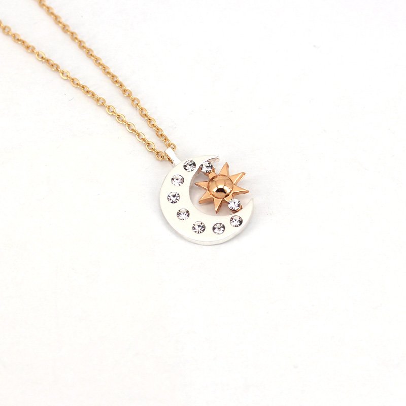 hzew new Pair Of Celestial gold Sun And silver color Moon Necklaces Best Friends Gift For Friend men women