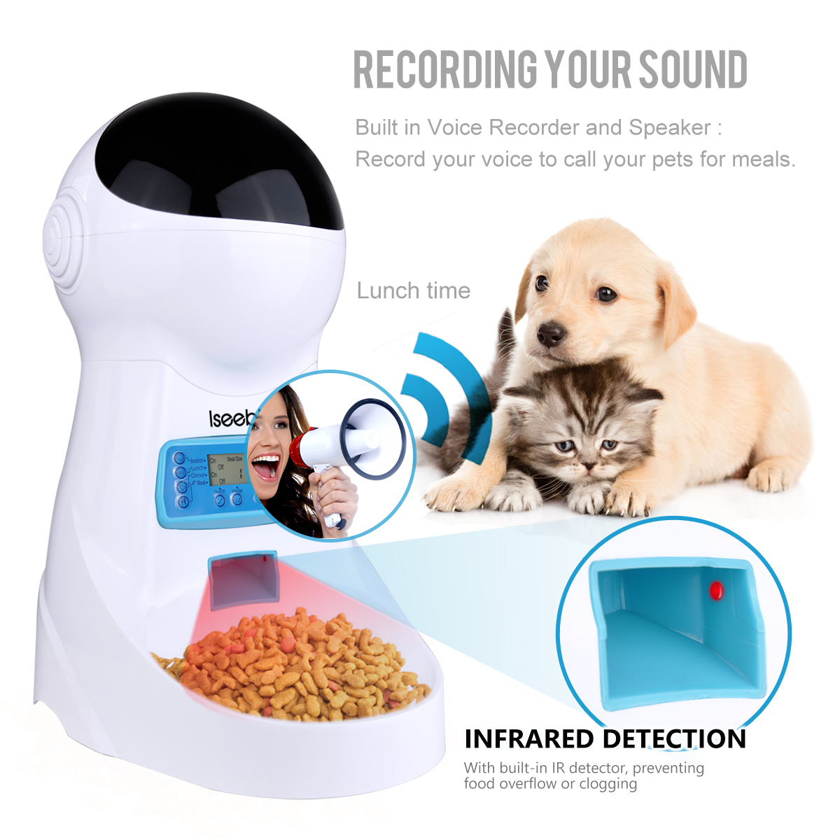 Canine - Wifi Automatic Pet Feeder 3L Pet Food Dispenser Feeder Medium and Large Cat Dog 4 Meal Voice Recorder and Timer