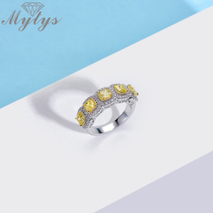 Image 3 - Mytys Fashion Romantic Ring Exquisite Created Yellow Color AAA Cubic Zircon Ring for Women Full Setring Luxury Jewelry R2149