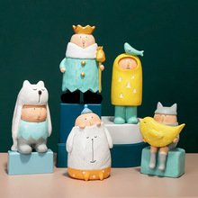 ARTLOVIN Modern Cartoon Cute Kids Figurines Colorful Animal Kingdom Figures Kids Room Decoration Accessories King Queen Dolls