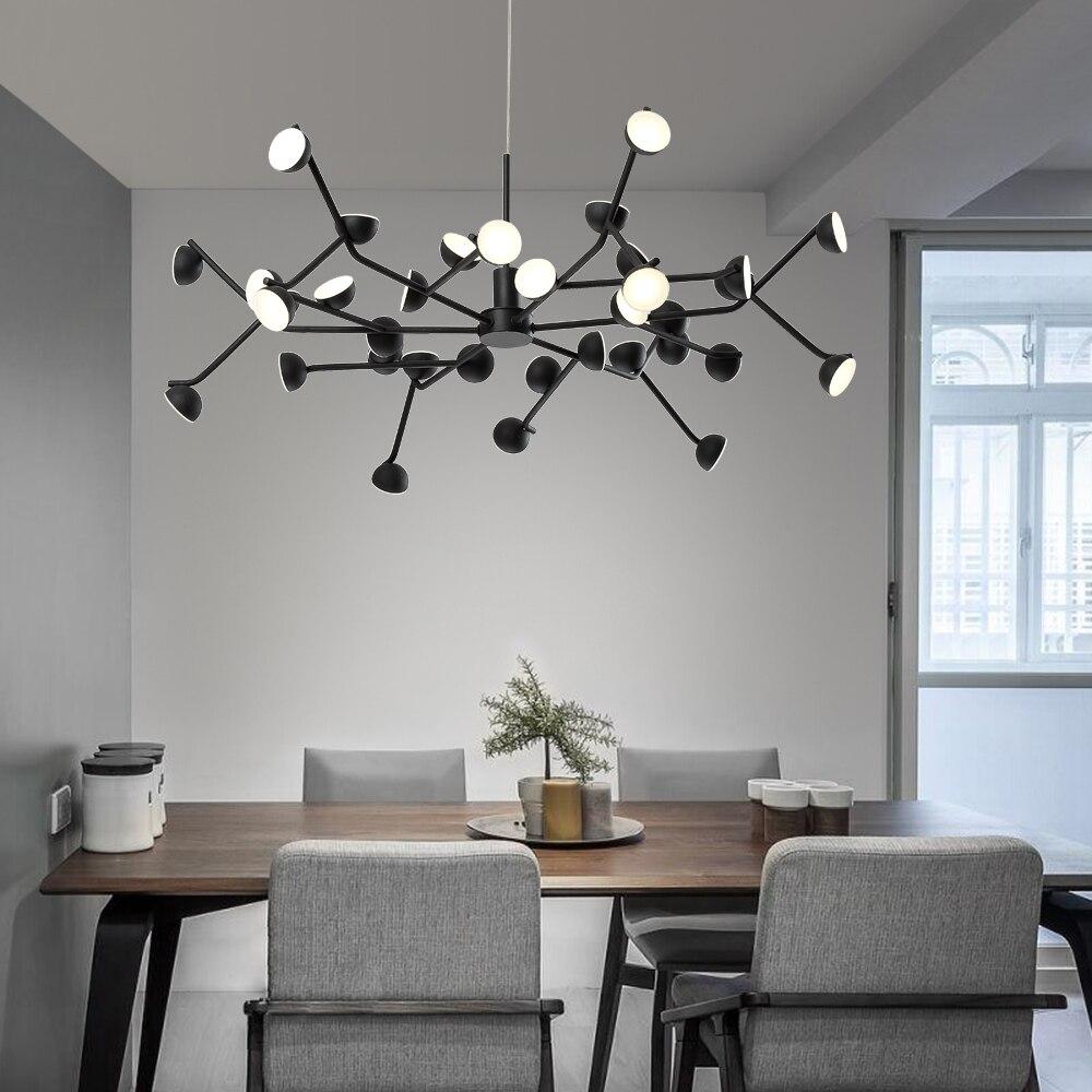 Nordic Chandelier Lighting for Living room Bedroom Kitchen Tree Branch LED Lamp 8/16/24/36 Lights Indoor Light Fixture Black