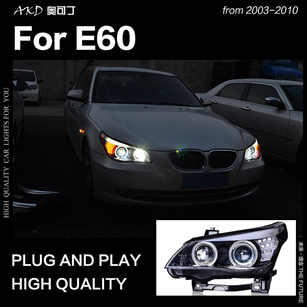 AKD voiture style phare pour BMW E60 phares 2003-2010 520i 523i 530i 535i phare LED DRL Hid Bi xénon Auto accessoires
