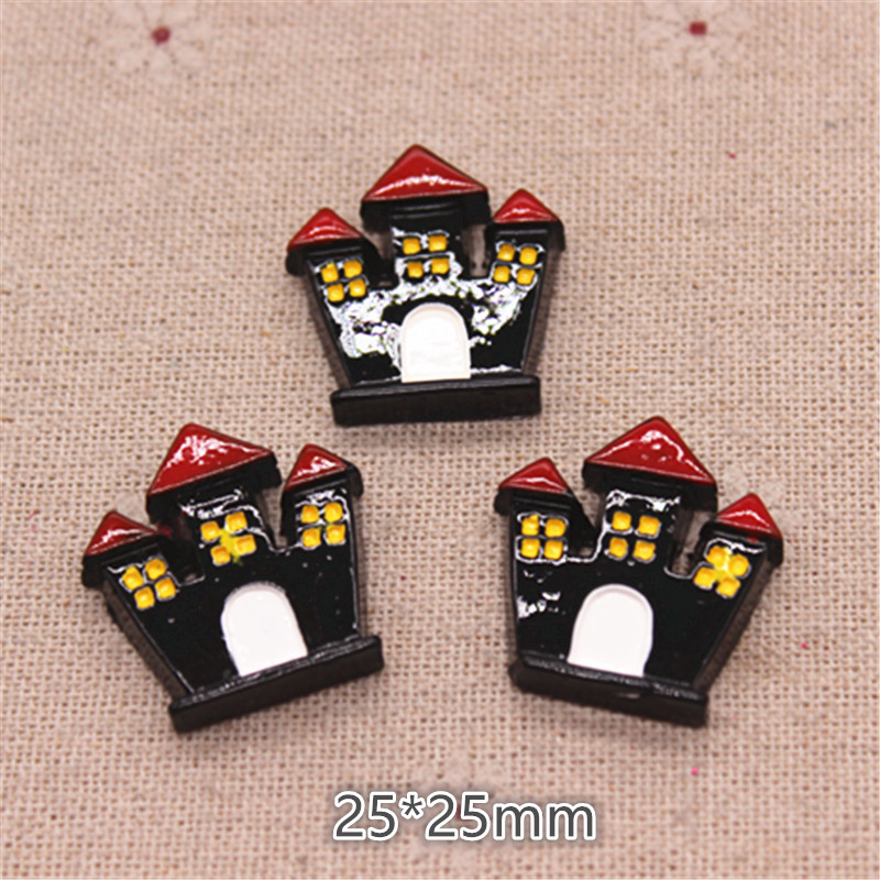 10pcs Resin New Haunted House Flatback Cabochon For Halloween Miniature Art Supply Decoration Charm Craft,25*25m