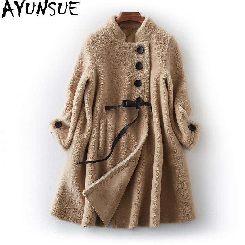 AYUNSUE 2019 Real Sheep Shearling Fur Coat Female Korean Long Jackets Winter Jacket Women 100% Wool Coats Chaqueta Mujer MY4000