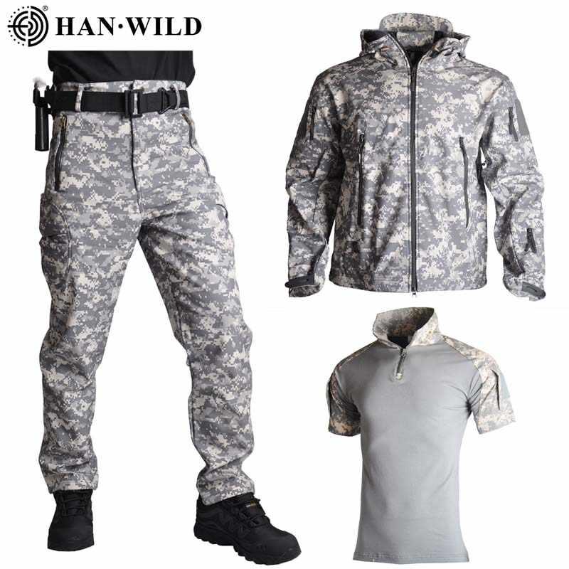 TAD камуфляжная охотничья одежда, 3 шт., акулья кожа, оболочка, скрытый костюм, уличная Тактическая Военная флисовая куртка + брюки + рубашки, костюмы