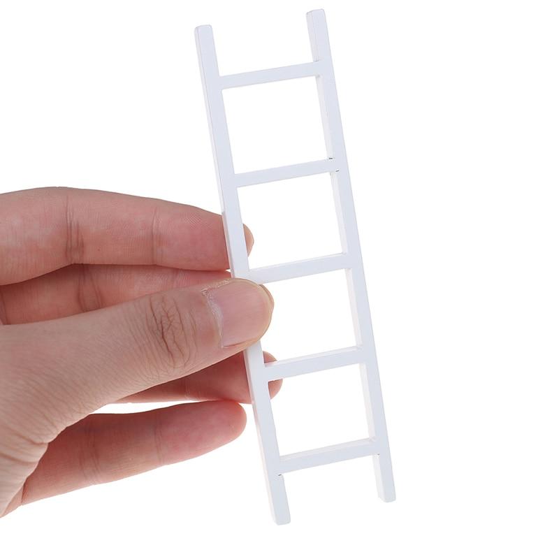 1/12 Dollhouse Miniature White Wooden Ladder Stair Room Fairy Garden Accessories Decoration