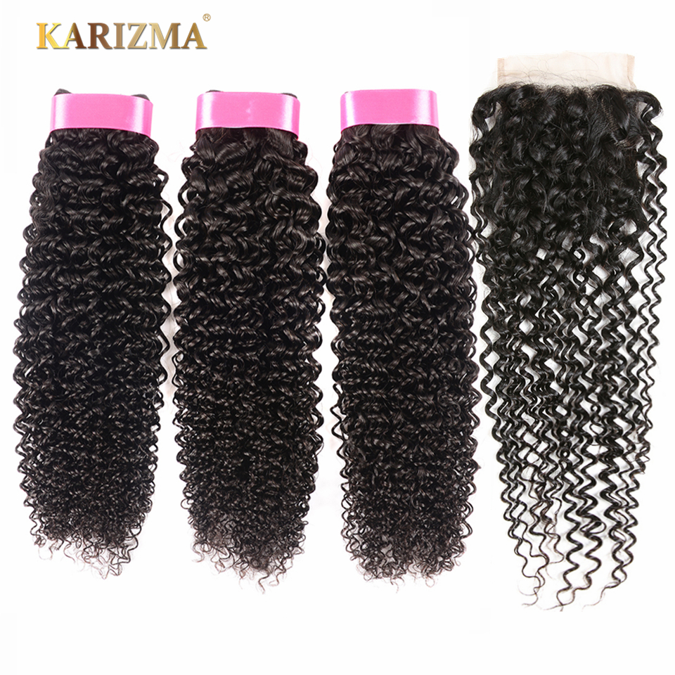Karizma Brazilian Kinky Curly Weave Human Hair 3 Bundles With Closure Non Remy Brazilian Hair Weave Bundles With Closure 4Pcs