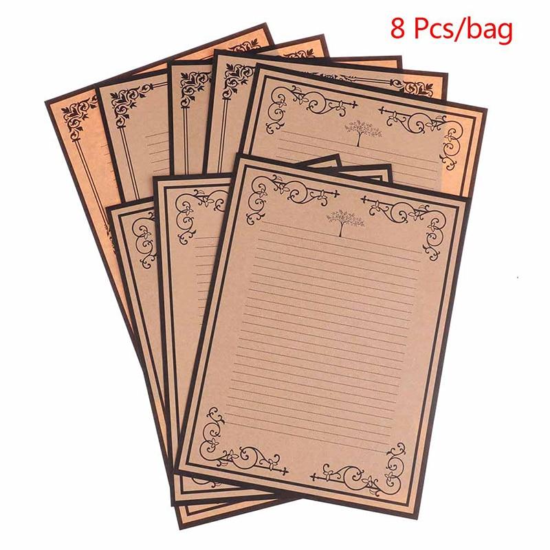 8pcs  Vintage Kraft Paper Classical Letter Paper Simple Love Letter Paper
