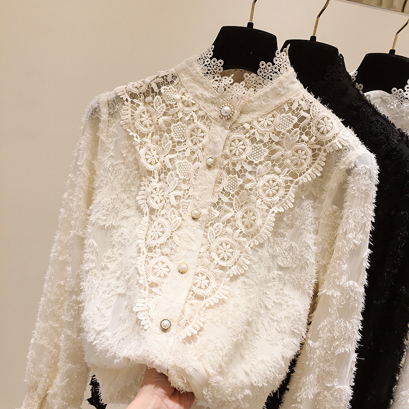Half Turtle-Neck Lace Beaded Shirt Women's 2020 Spring New Korean-Style Long-Sleeve Lace Blouse Blouses Woman Blusas Femme Tops