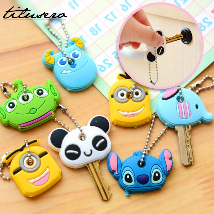 1PCS Cartoon Silicone Protective Key Case Cover For Key Control Dust Cover Holder Organizer Home Accessories F030