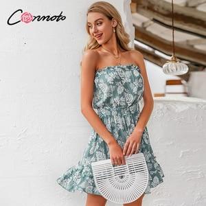 Image 3 - Conmoto ruffles beach boho dresses women strapless elastic waist dress mini floral blue print 2020 summer dress vestidos