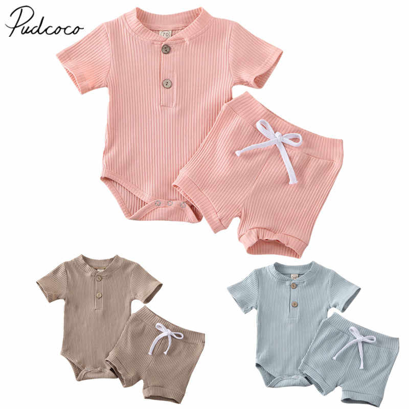 2020 Baby Summer Clothing Newborn Kid Baby Boy Girl Clothes Short Sleeve Bodysuit Shorts Ribbed Solid 2Pcs Outfits Set