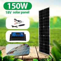 kit de panel solar completo cargador portatil para celular 18V Panel Solar Flexible 150W Dual 5V cargador solar USB Smartphone banco de energía Solar Kit completo con controlador al aire libre Camping barco