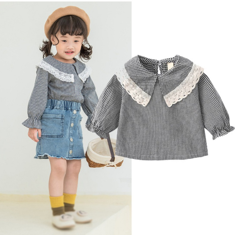 Spring Autumn New Infant Baby Children Girls Cotton Long Sleeve   Blouse   Cute Lace Plaid Printed Solid Color Comfortable   Shirt
