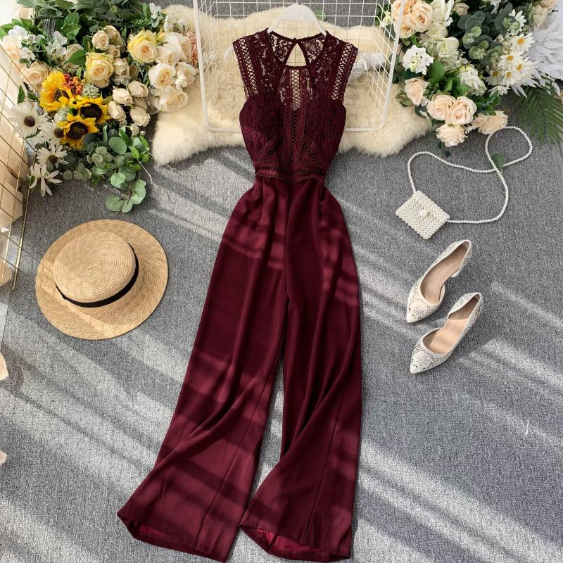 Elegant High Waist Hip Wide Leg Patchwork Lace Hollow Out Sleeveless Jumpsuit 2