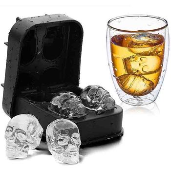 3D 4 Holes Silicone Bones Skull Ice Cube Mold Creative New Style Cake Candy Tray Mold Halloween Gift Black Whisky Ice Mold skeleton skull head silicone chocolate muffin cupcake candy ice cube mold halloween