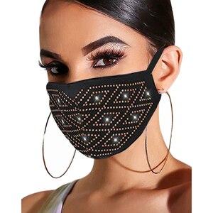 Fashion Unisex Elastic Reusable Washable Fashion Masks Sparkly Rhinestone Mask Face Bandana Face Decor Jewelry 2020