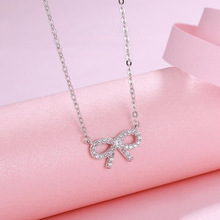 Exquisite Female Bow Collares 925 Sterling Silver Bownot Micro Pave Zircon 45CM Lenght Chain Pendant Necklace for Women Choker jewelrypalace luxury pear cut 7 4ct created emerald solid 925 sterling silver pendant necklace 45cm chain for women 2018 hot