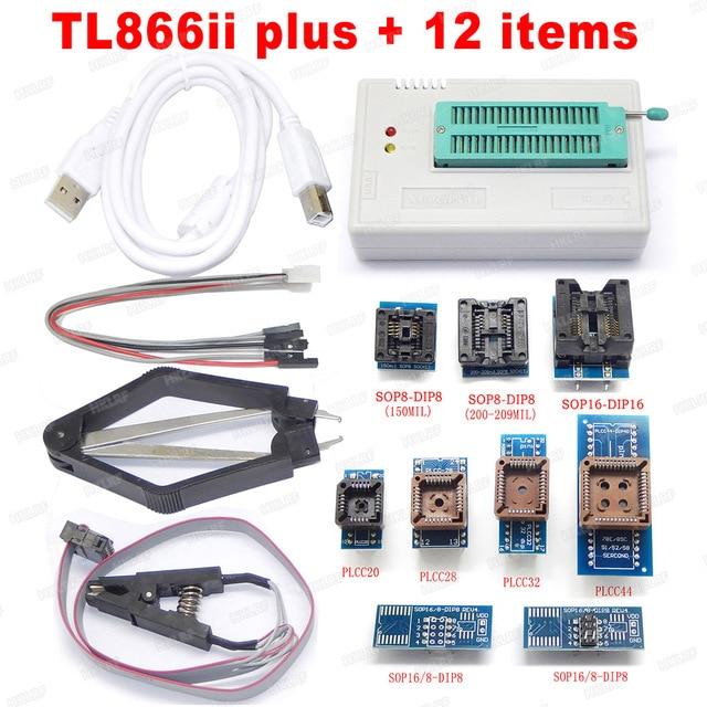 XGECU Best quality TL866ii Plus Programmer +12 Items Support MCU AVR EEPROM EPROM 27 28 29 37 39 49 50 Series chips