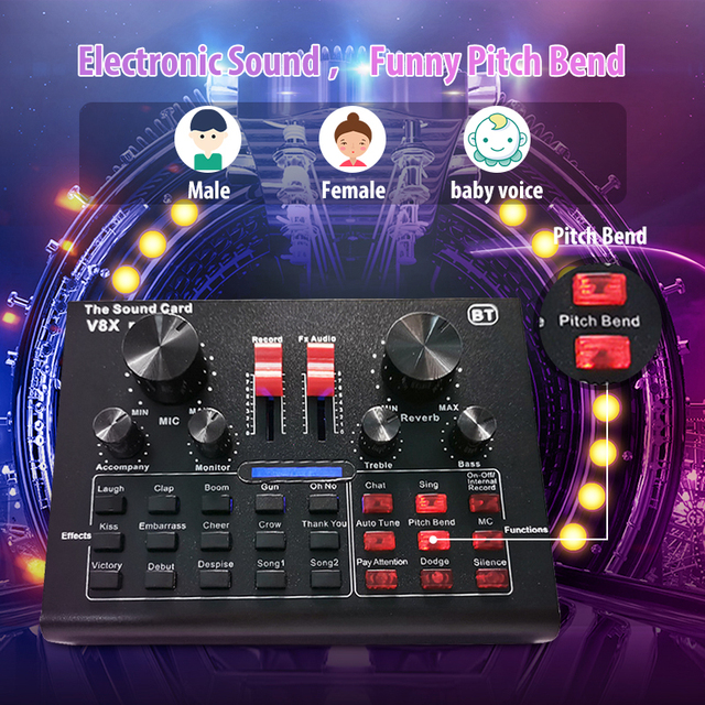 V8X PRO Audio Mixer BM800 Kondensator Mikrofon Live Soundkarte Bluetooth USB 15 Sound Modus DSP Mehrere Sound Wirkung 5,1 kanal
