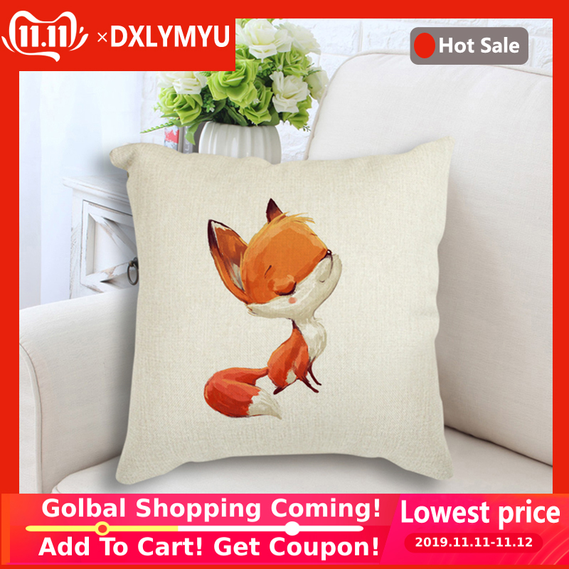 Watercolor Cute Fox Rabbit Print Linen Throw Pillow Sofa Waist Cushion Cover Home Decor Pillow Case Gift