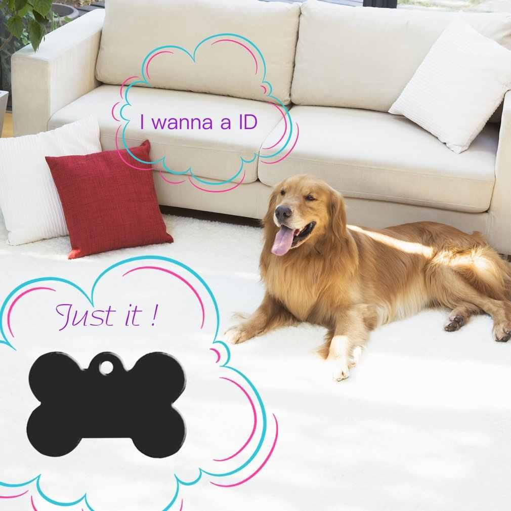 2pcs 38mm Aluminum Alloy Bone Shape Pet ID Tag Identification Personalized Pet Accessories Dog Cat ID Tag Pendant