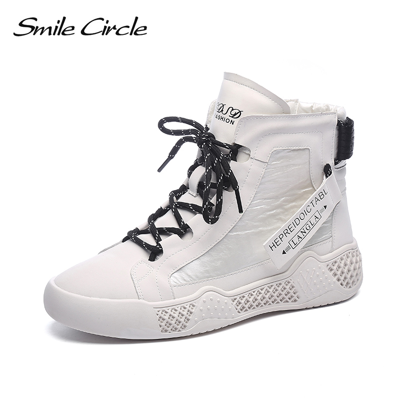 Smile Circle Women Sneakers Flat Platform Shoes High-top Genuine Leather Comfortable Casual Boots Ladies