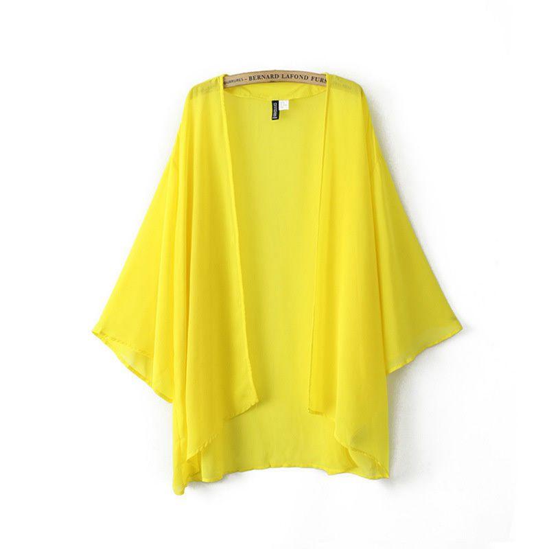 Women's Loose Cardigan Kimono Blouse Summer Beach Swiming Outwear Blouse 3 Colors Korean Style