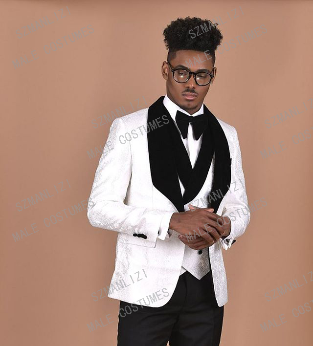 2019 New Custom Made Groom Tuxedos White Best Man Black Velvet Lapel Groomsman Men Wedding Suits Bridegroom Jacket+Pant+Vest+Bow
