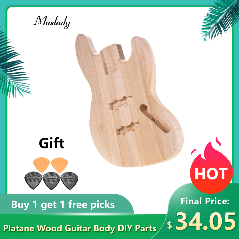 Muslady JB-T02 Unfinished Guitar Body DIY Parts Platane Wood Blank Guitar Barrel For JB Style Bass Guitars Guitar Accessories