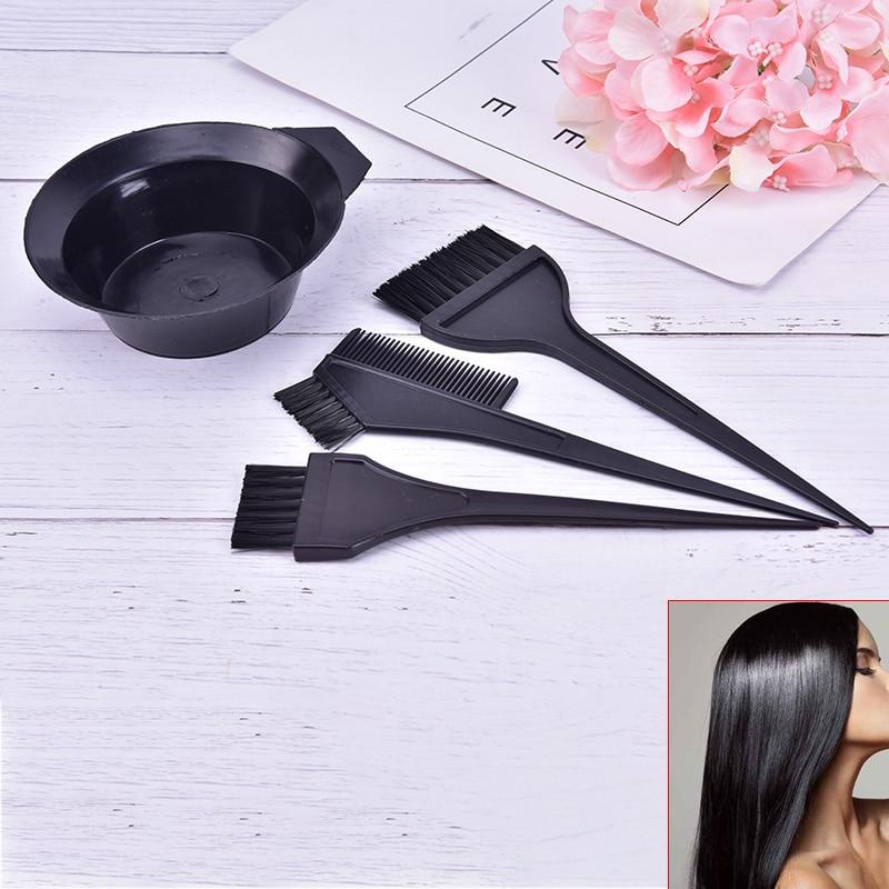 4pcs /set Hair Color Dye Bowl Comb Brushes Tool Kit Tint Coloring Dye Bowl Comb Brush Twin High Quality Headed Brushes Set