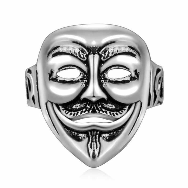 ใหม่อินเทรนด์แฟนซี 925 เงินสเตอร์ลิง Mask แหวนสำหรับผู้หญิงงานแต่งงานเครื่องประดับนิ้วมือแหวนขายส่ง