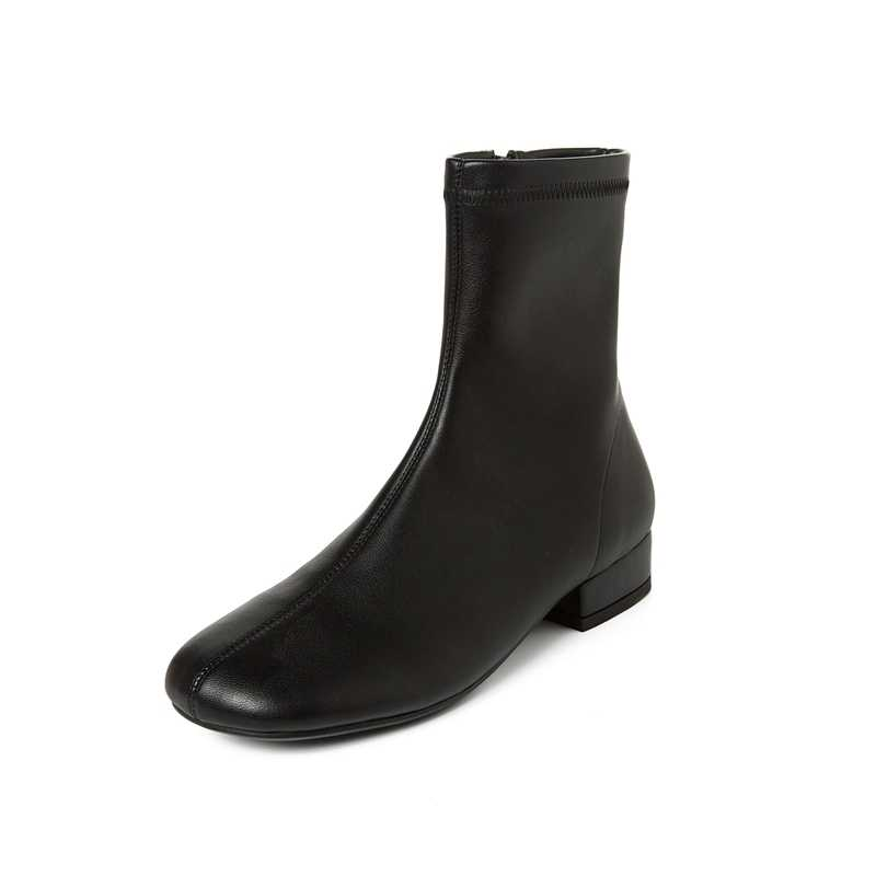 Superstar boyutu 40 yuvarlak ayak düşük topuklu fermuar kadın yarım çizmeler muhtasar pist moda çizmeler katı ofis bayan kış ayakkabı L71