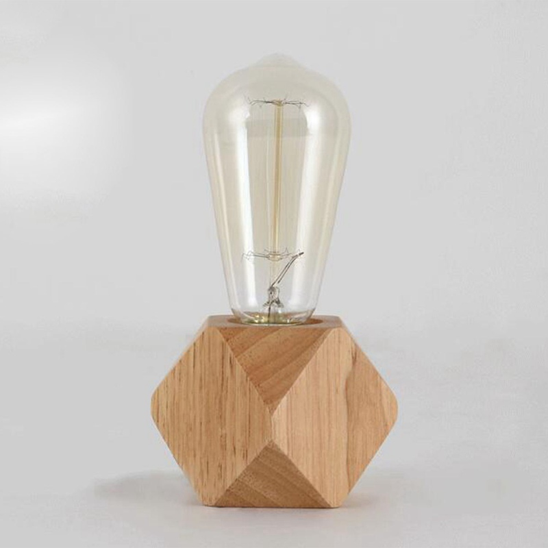 Modern Table Lamp E27 Wooden Desk Lamp Diamond Bedside Lamp For Home/bedroom/living Room Decor EU-Plug Wooden Base