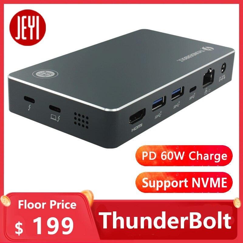 JEYI Thunderbolt 3 Dock Support NVME DP PD 60W HDMI USB3.1 10G 1000M LAN TYPE-C aluminium TYPE C3.1 m. 2 USB3.1 M.2 PCIE U.2 SSD(China)
