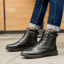 White boot men short plush lace up ankle boots leather casual